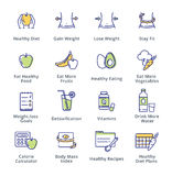 Healthy Lifestyle - Dieting Icons - Outline Series. This set contains dieting icons that can be used for designing and developing websites, as well as printed stock illustration