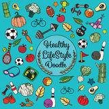 Healthy lifestyle doodle. Design with thin line icons on theme f Stock Images