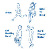 Healthy lifestyle. Doodle set. Running, riding bicycle, eating healthy food, drinking water. EPS 10 vector illustration Royalty Free Stock Photo
