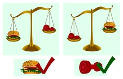 Healthy lifestyle. Dumbbell, hamburger, scales. Fitness. Health. Vector illustration. royalty free illustration