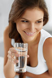 Healthy Lifestyle, Eating. Woman Drinking Water. Drinks. Health, Royalty Free Stock Image