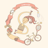 Healthy lifestyle. Exercise. Cute girl and set of sport elements. Healthy lifestyle. Pastelle colored Stock Photo