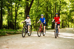 Healthy lifestyle - family biking Royalty Free Stock Images