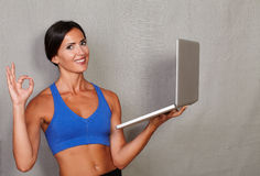 Healthy lifestyle female showing perfect sign Royalty Free Stock Photos