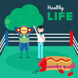 Healthy lifestyle. Fight with junk food and healthy food cartoon. Broccoli won a battle against hot-dog. Hot-dog fails.  Stock Photo