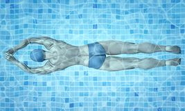 Healthy lifestyle. Fit swimmer training in the swimming pool. Professional male swimmer inside swimming pool. Texture of Stock Photography