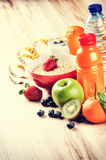 Healthy lifestyle and fitness concept. Fresh fruits, juice and c Stock Images