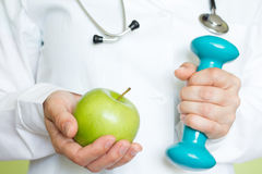 Healthy lifestyle fitness and diet abstract concept with doctor Royalty Free Stock Photo