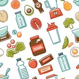 Healthy lifestyle and fitness food nutrition and drinks seamless pattern. stock illustration