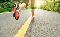 Healthy lifestyle fitness sports woman running leg stock image