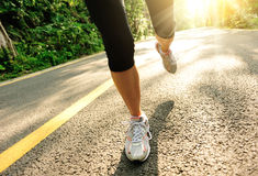 Healthy lifestyle fitness sports woman running leg Royalty Free Stock Image