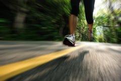 Healthy lifestyle fitness sports woman running leg Stock Photos