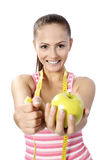 Healthy lifestyle - fitness woman hand apple Stock Photos