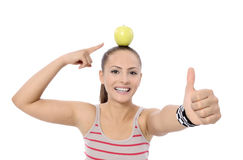 Healthy lifestyle - fitness woman hands apple Royalty Free Stock Photo