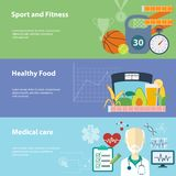 Healthy lifestyle flat banners set. Royalty Free Stock Photography