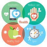 Healthy lifestyle flat illustration. Food, water, medical care and sport Stock Photos
