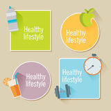 Healthy lifestyle flat illustration stickers. Food, water and sp Royalty Free Stock Image