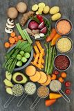 Healthy Lifestyle Food. Concept with vegetables, seeds, legumes, herb and spice selection on marble background. Super foods high in antioxidants, fibre, smart royalty free stock image