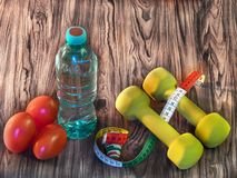 Healthy lifestyle - food, drink, sports equipment stock photography