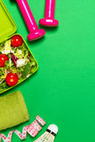 Healthy lifestyle, food, sport or athlete`s equipment on bright. Background. Flat lay Royalty Free Stock Photos