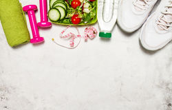 Healthy lifestyle, food, sport or athlete`s equipment on bright. Background. Flat lay. Top view with copy space Royalty Free Stock Photo