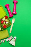 Healthy lifestyle, food, sport or athlete`s equipment on bright. Background. Flat lay. Top view with copy space Stock Image