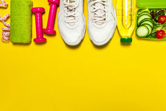 Healthy lifestyle, food, sport or athlete`s equipment on bright. Background. Flat lay. Top view with copy space Royalty Free Stock Photography
