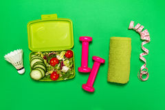 Healthy lifestyle, food, sport or athlete`s equipment on bright. Background. Flat lay. Top view with copy space Royalty Free Stock Photos