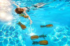 Healthy Lifestyle, Food. Young Woman In Pool. Fruits, Vitamins. Stock Images