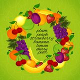 Healthy lifestyle-fruit circle. Wreath from fruit for a healthy lifestyle Stock Photo