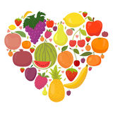 Healthy lifestyle fruit heart. Fresh fruits Royalty Free Stock Photos