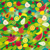 Healthy lifestyle. Fruits and leaves on the green background seamless pattern. Stock Photography