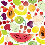 Healthy lifestyle. Fruits on white background seamless pattern. Vector. Royalty Free Stock Images