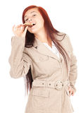 Healthy lifestyle - girl eating granola bar Stock Photos