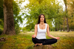 Healthy lifestyle. Girl in lotus position relaxing in the forest Royalty Free Stock Image