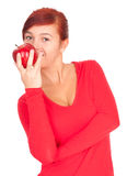 Healthy lifestyle - girl with red apple Royalty Free Stock Photos