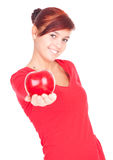 Healthy lifestyle - girl with red apple Stock Photos