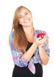 Healthy lifestyle - girl with red apple Stock Images