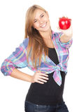 Healthy lifestyle - girl with red apple Royalty Free Stock Photography