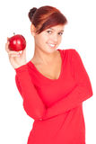 Healthy lifestyle - girl with red apple Stock Photography