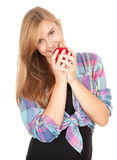 Healthy lifestyle - girl with red apple Royalty Free Stock Image