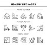 Healthy lifestyle habits black and white line vector icons. Proper nutrition fruit vegetables water seafood. Physical. Activity sport outdoor exercise fitness stock illustration