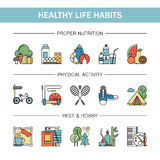 Healthy lifestyle habits colorful line vector icons . Proper nutrition fruit vegetables water seafood. Physical Stock Images