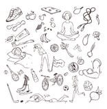 Healthy lifestyle hand drawn set. Collection doodle objects with fitness, sport, fruit, yoga symbols. Contour vector Royalty Free Stock Image