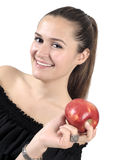 Healthy Lifestyle - Happy smiling woman and apple Stock Image
