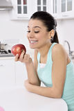 Healthy Lifestyle - Happy smiling woman and apple Stock Images