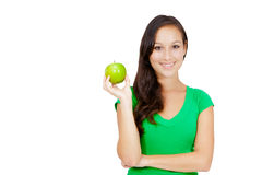 Healthy Lifestyle - Happy woman eating an apple Stock Photo
