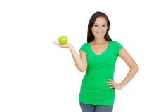 Healthy Lifestyle - Happy woman eating an apple Royalty Free Stock Image