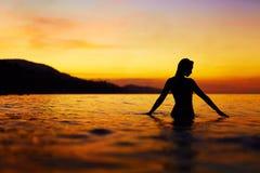 Healthy Lifestyle, Health. Woman Enjoying Sea Sunset. Summer Vac Stock Image