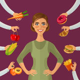 Healthy lifestyle, a healthy diet and daily routine. Diet. Choice of girls: being fat or slim. Healthy lifestyle and bad habits. Royalty Free Stock Photos